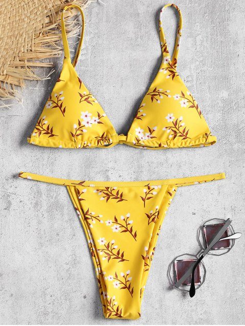 unique Tiny Floral Padded Bikini Top and Thong Bottoms - YELLOW S Mobile