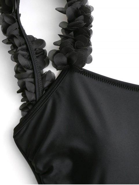 Bañador de una pieza de flor estéreo con espalda baja - Negro S Mobile