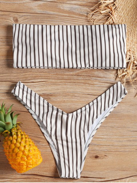 fashion Bandeau Striped Bikini Set - STRIPE L Mobile