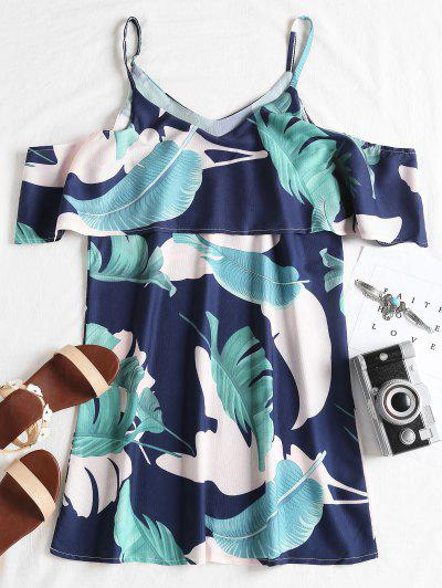 Zaful Ruffle Tropical Cold Shoulder Mini Dress