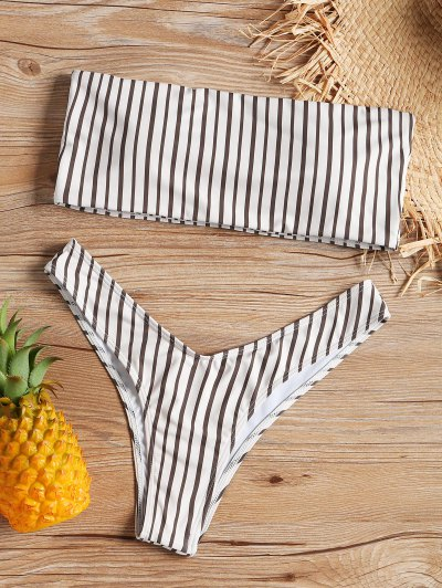 Bandeau Striped Bikini Set - Stripe S