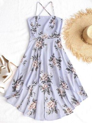 Cami Kreuz Asymmetrischer Blumen Kleid
