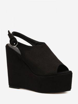 Peep Toe Platform Wedge Slingbacks