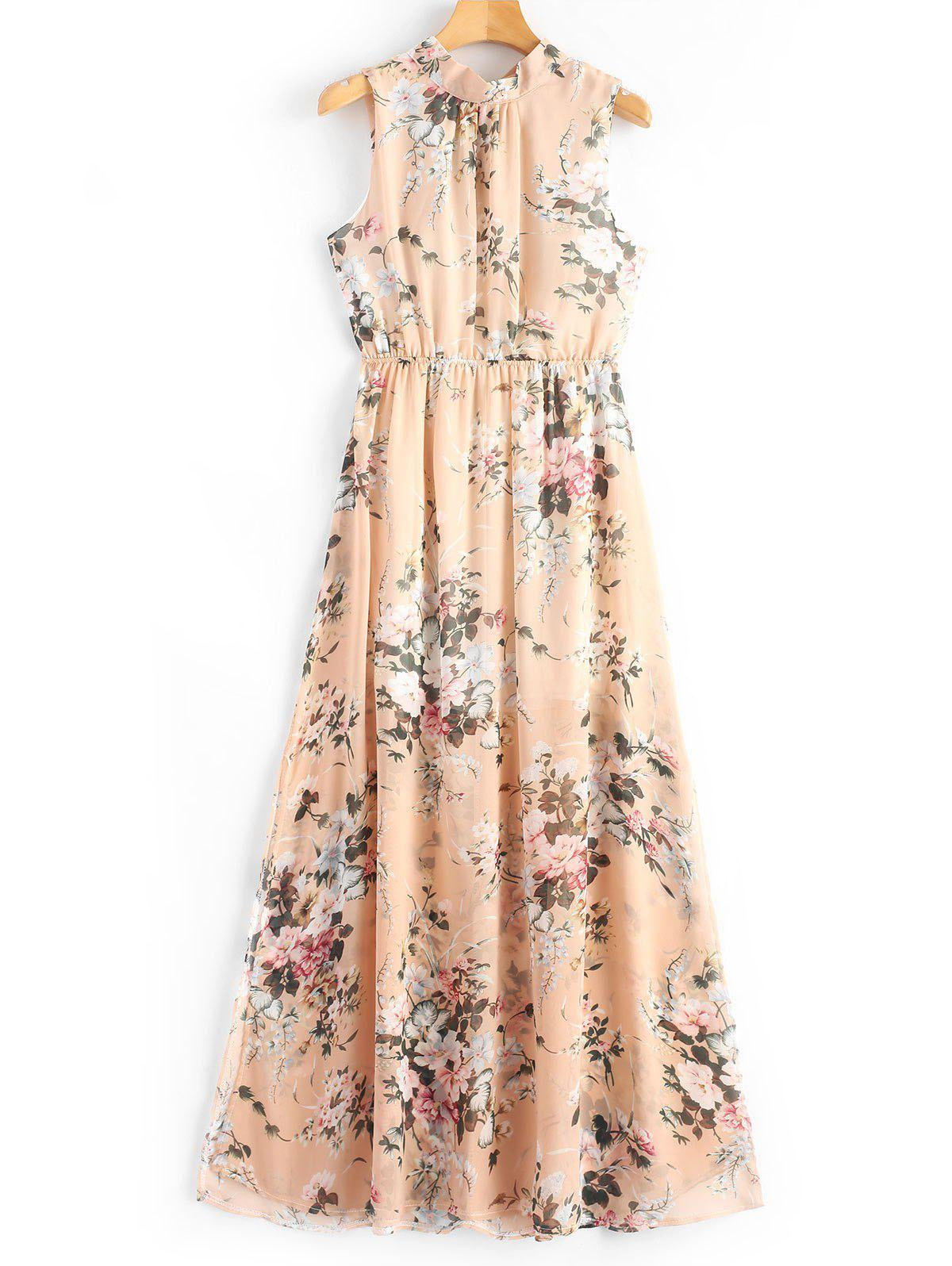 Open Back Slit Floral Print Maxi Dress 255528903
