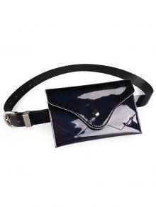 حزام من الجلد الاصطناعي اللامع مع حقيبة - أسود