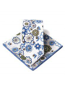 نمط الأزهار فريدة من نوعها مزين ربطة العنق منديل مجموعة - أزرق