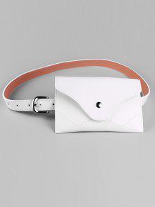 حزام من الجلد المزيف مع حقيبة قابلة للفصل - أبيض