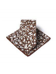 بسيطة نمط الأزهار المطبوعة ربطة العنق منديل مجموعة -