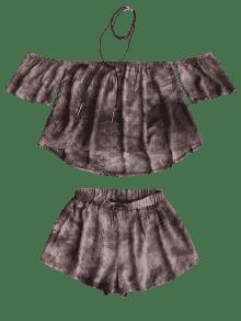 Tie L Pantalones Capuchino La Del Dye Hombro Cortos Off Parte Superior Y rrHZq