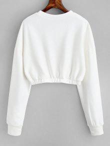 Cuello Blanco Estampado Con Sudadera L Carta Redondo ACqH5p8w