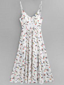 الأزهار طباعة الشق كامي فستان ماكسي - أبيض L