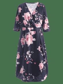 Vestido De Floral Estampado Floral Xl Plunge q7O6Hq