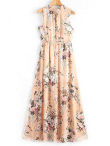 فستان ماكسي طباعة الأزهار مفتوحة الظهر - الأزهار L