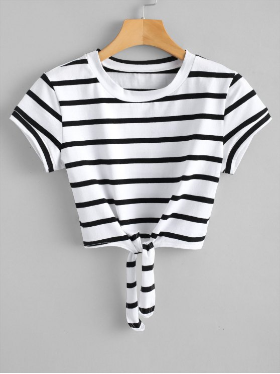 ladies Cropped Tied Stripes Top - WHITE S