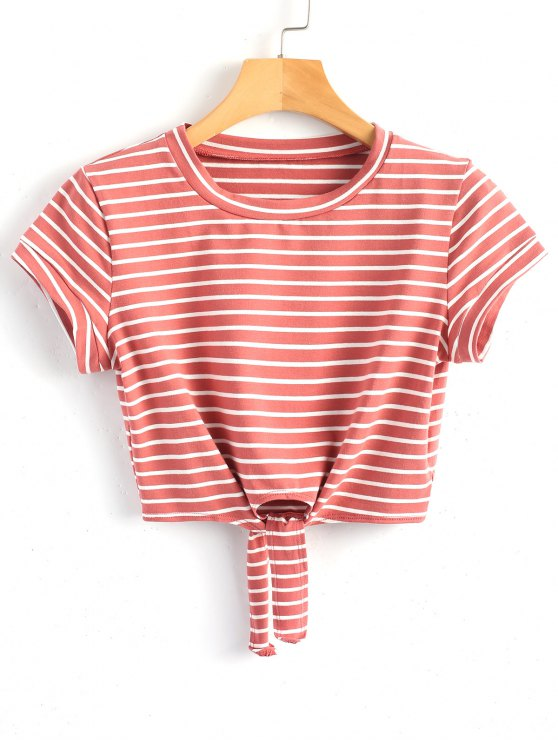 best Cropped Tied Stripes Top - BEAN PASTE COLOR M
