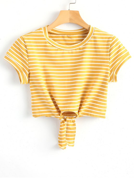 shop Cropped Tied Stripes Top - YELLOW M