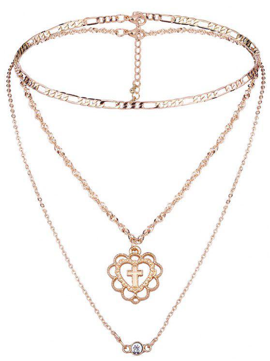 2 Stück Kreuz Muster Mehrschichtete Halskette Set - Golden