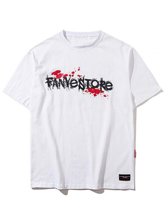 fashion Short Sleeve Graphic Hallowmas Tee - WHITE M