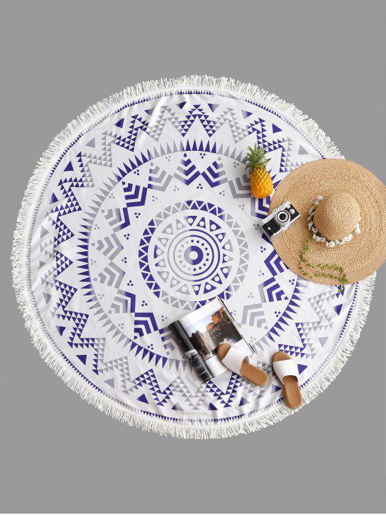 Manta Geométrica Fringe Round Beach Blanket - Cinza Um Tamanho