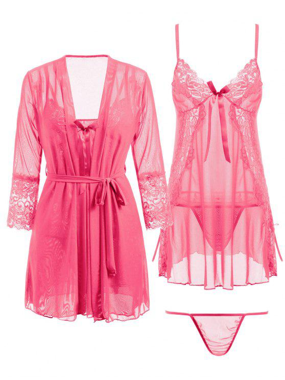 outfits Lace Panel Mesh Babydoll and Kimono and G-string - PINK ONE SIZE