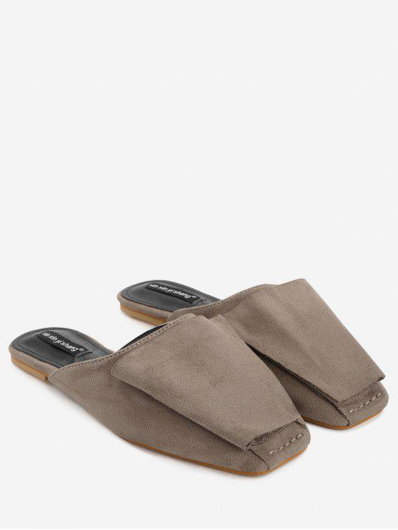 fashion Squared Toe Mules Shoes - BROWN 39