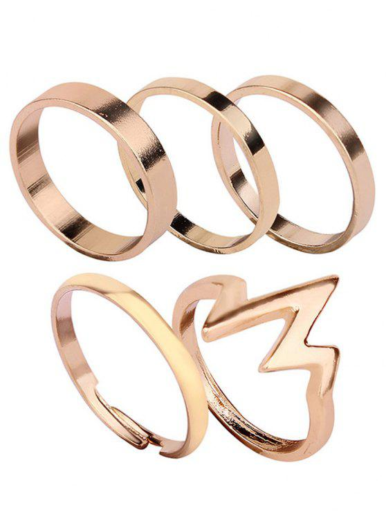 Alloy Lightning Round Pattern Rings Set - Dourado