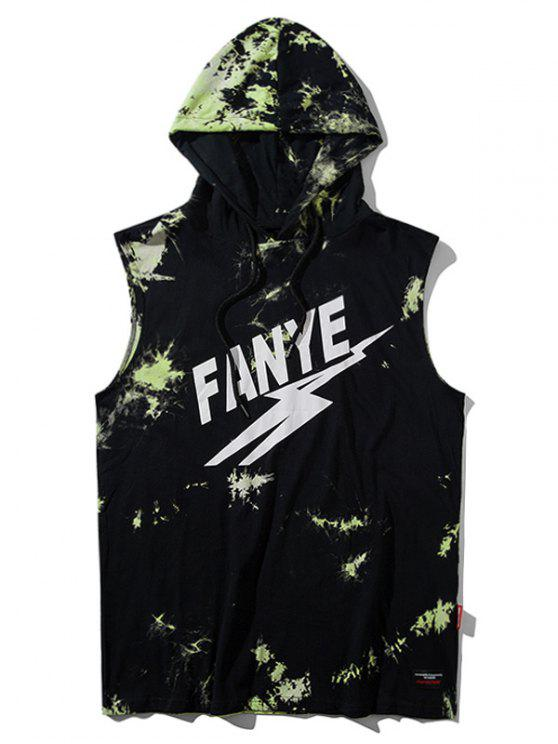 lady Sleeveless Tie Dyed Hooded Tee - GREEN M