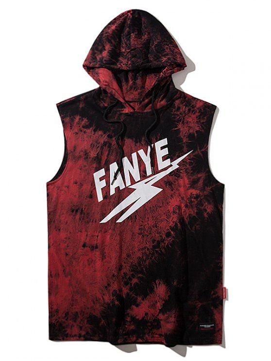 new Sleeveless Tie Dyed Hooded Tee - RED L