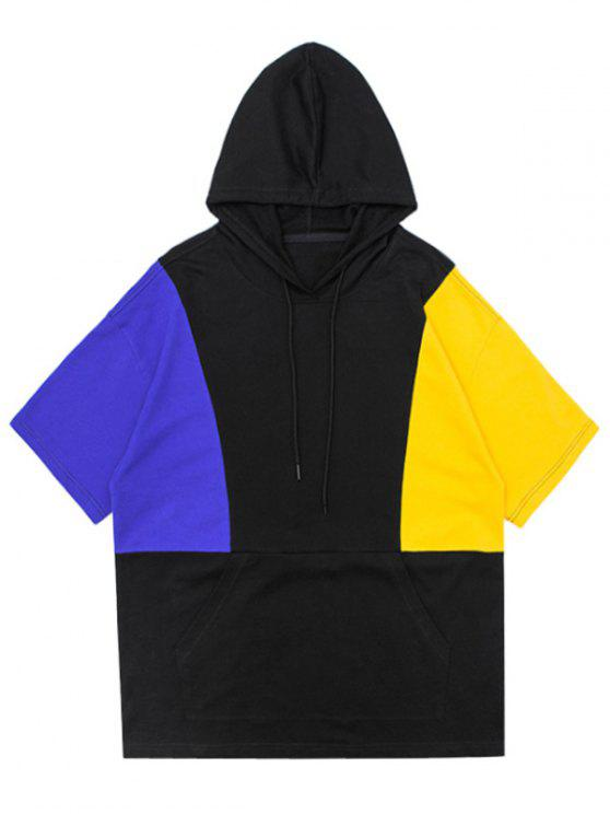fancy Side Slit Color Block Relaxed Hoodie - BLACK M