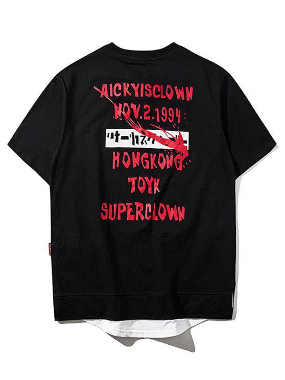 Overlay Saum Grafik Streetwear Top - Schwarz 2XL