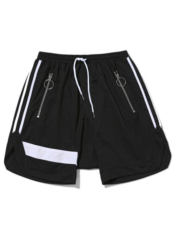 Zipper Pocket Drawstring Shorts - Schwarz L
