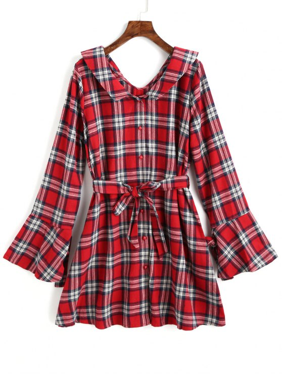 women's Button Up Belted Tartan Dress - RED M