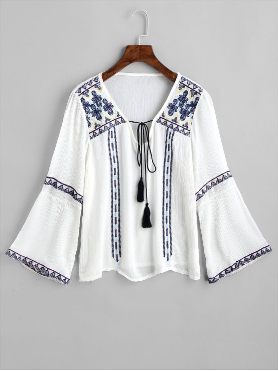 chic Tie Neck Crinkly Embroidered Blouse - WHITE ONE SIZE