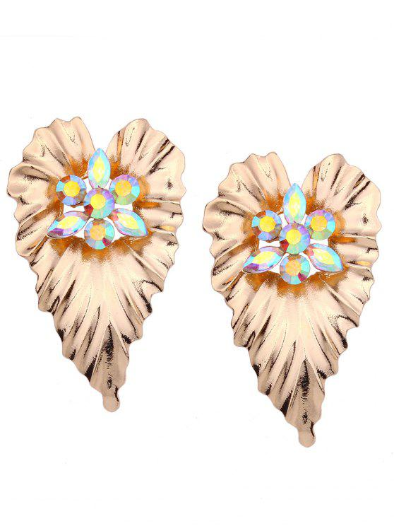 Rhinestone Alloy Heart Stud Earrings - Dourado