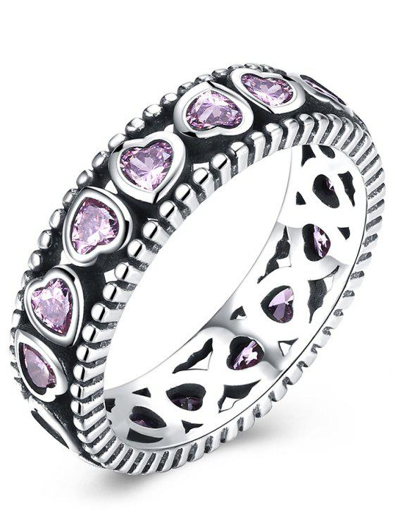 fashion Artificial Amethyst Valentine Day Heart Silver Ring - SILVER + PINK 7