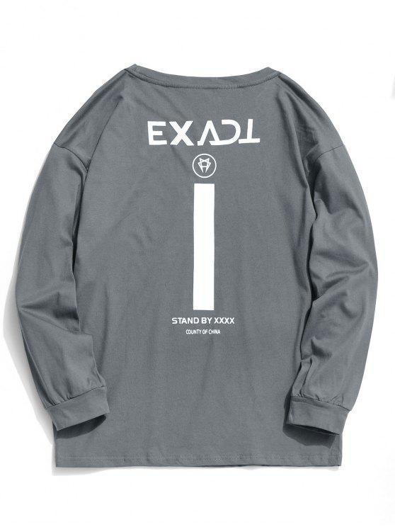women Exact Graphic Full Sleeve T-shirt - GRAY L