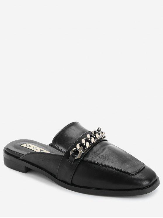 hot Curb Chain Mules Shoes - BLACK 38