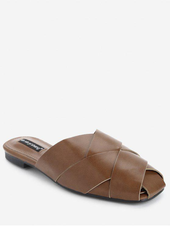 shops Flat Faux Leather Mules Shoes - BROWN 36