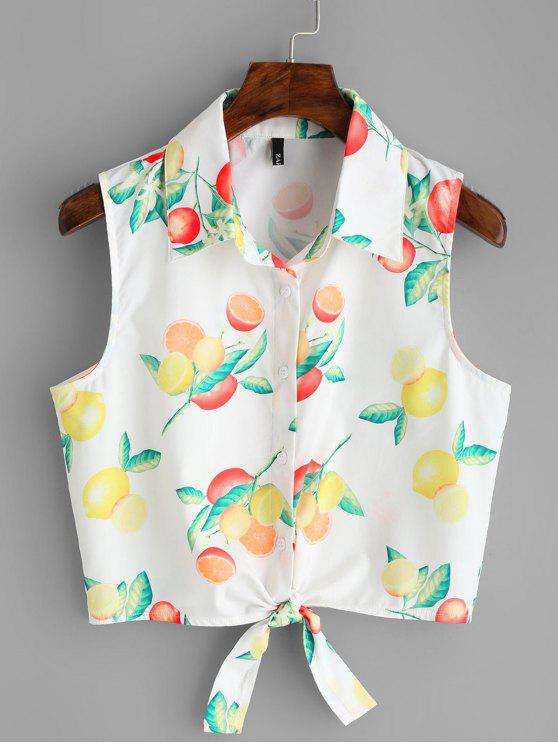 outfit Fruit Print Tied Hem Sleeveless Shirt - WHITE S