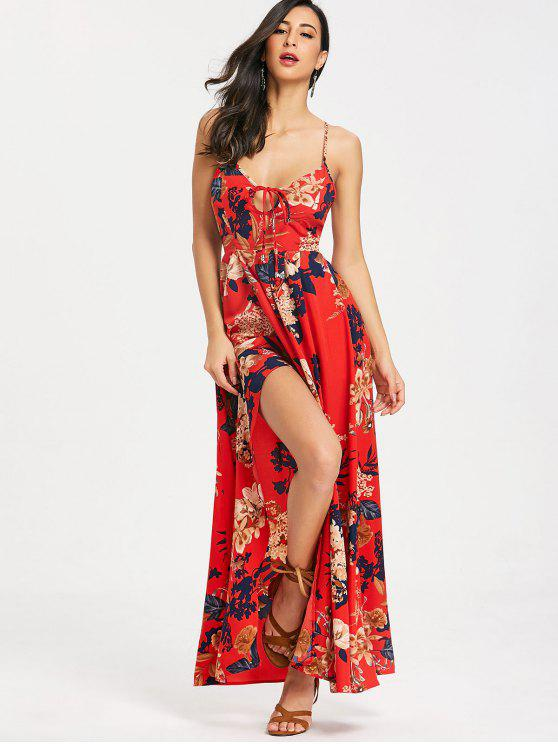 fashion Cami Floral Criss Cross Maxi Dress - RED S