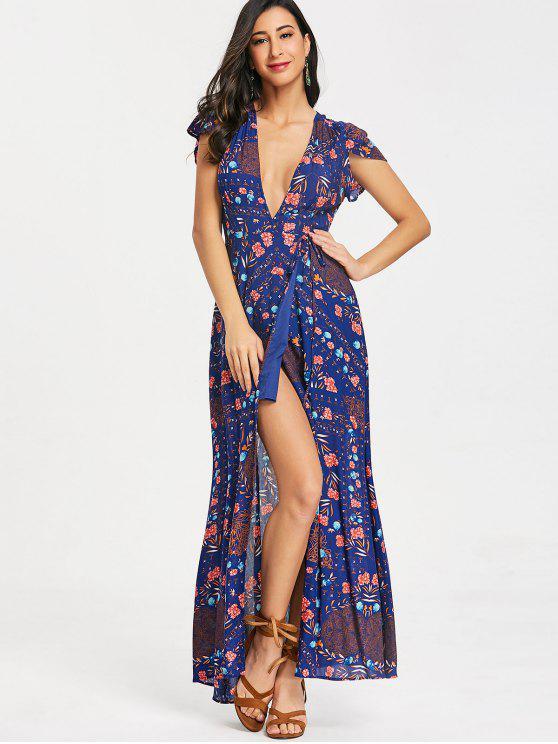 d0ba1b440b 33% OFF  2019 Floral Low Cut Wrap Maxi Dress In DEEP BLUE M
