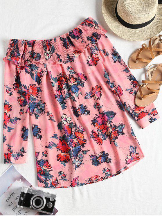 new Off Shoulder Pleated Flounce Floral Dress - FLORAL M