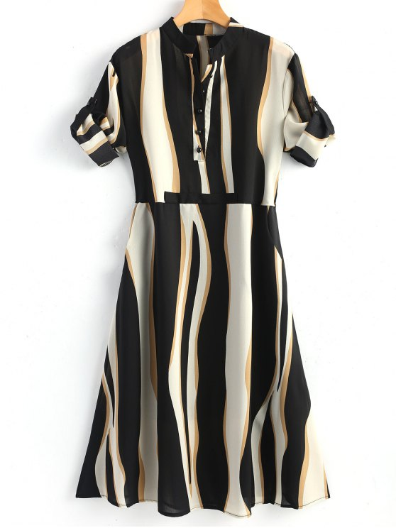 chic Half Buttoned Stripe Shirt Dress - STRIPE M