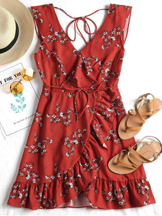 fancy Plunging Neck Ruffled Belted Floral Dress - RED M