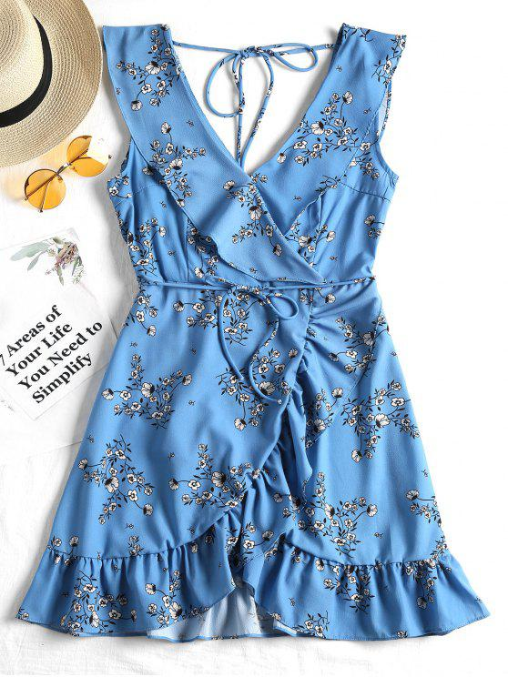 trendy Plunging Neck Ruffled Belted Floral Dress - BLUE L