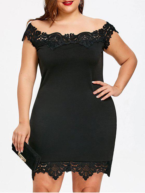 فستان الحجم الكبير دانتيل تريم - أسود 4XL