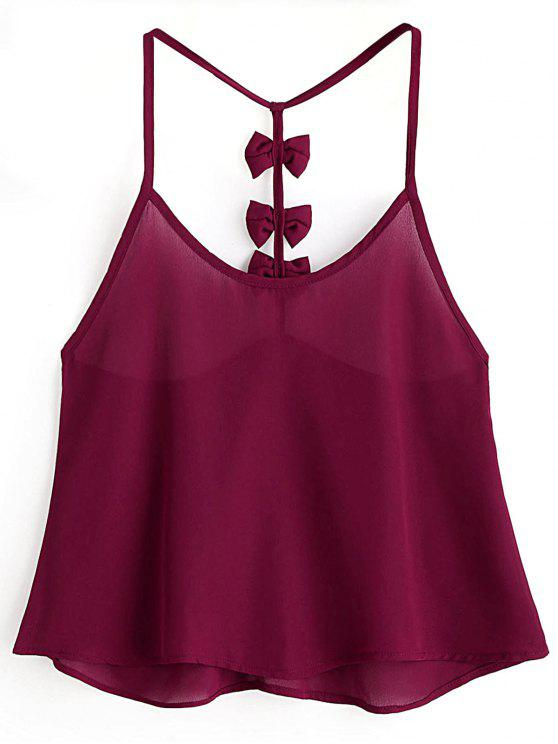 best Bowknot Embellished Cami Top - CLARET M