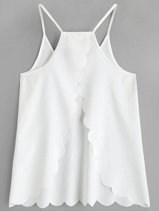 hot Scalloped Hem Back Slit Cami Top - WHITE S