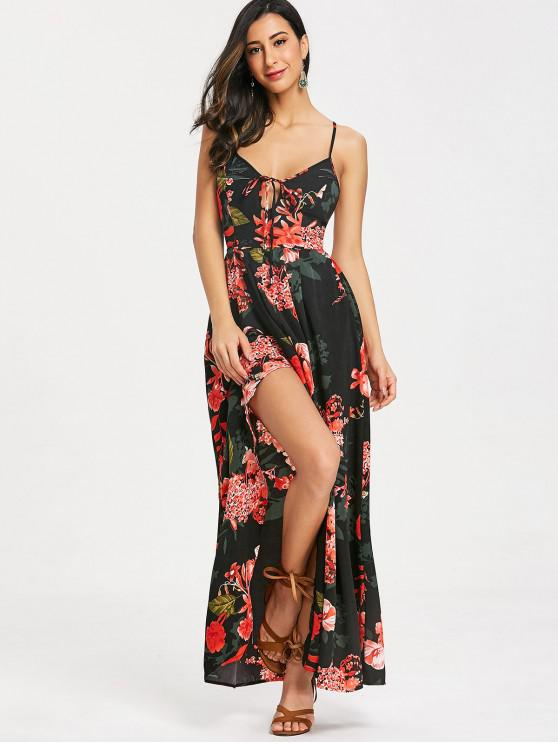 buy Cami Floral Criss Cross Maxi Dress - BLACK L