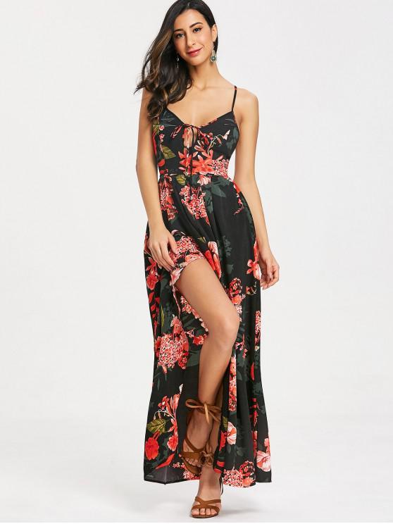 Cami Floral Criss十字長連衣裙 - 黑色 M
